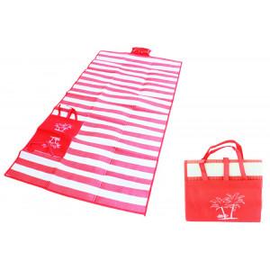 Ψάθα-τσάντα παραλίας AG366 με μαξιλάρι, αδιάβροχη, 175 x 90 cm, κόκκινο AG366B