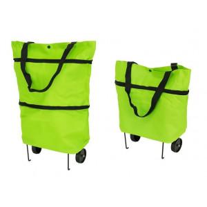 Αναδιπλούμενη τσάντα αγορών με ρόδες AG392, πράσινη AG392