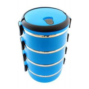Δοχείο φαγητού AG479D με επένδυση inox, σετ 4τμχ, μπλε AG479D