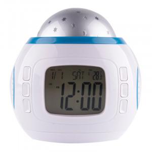Επιτραπέζιο ρολόι AK234, με προβολέα και μουσική, λευκό-μπλε AK234