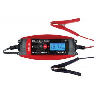AMIO Ψηφιακός φορτιστής μπαταριών οχημάτων 02088, 6V/12V, 2A/4A AMIO-02088
