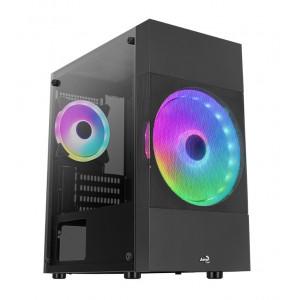 AEROCOOL PC case mini tower ATOMIC-LITE-G, 206.5x385x353.4mm, 2x RGB fan ATOMIC-LITE-G-BK-V1