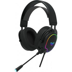 AULA gaming headset Wind F606, RGB, USB/3.5mm, 50mm, μαύρο AUL-F606