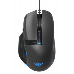 AULA ενσύρματο gaming ποντίκι Wind F808, 4200DPI, 10 πλήκτρα, RGB, μαύρο AUL-F808