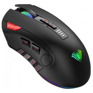 AULA ενσύρματο gaming ποντίκι Fire H512, 5000DPI, 12 πλήκτρα, RGB, μαύρο AUL-H512