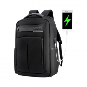 ARCTIC HUNTER τσάντα πλάτης B00121C-BK, laptop, USB, αδιάβροχη, μαύρη B00121C-BK
