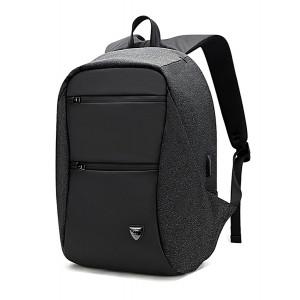 ARCTIC HUNTER τσάντα πλάτης B00207-BK με θήκη laptop, USB, μαύρη B00207-BK