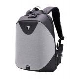 ARCTIC HUNTER τσάντα πλάτης B00208, laptop, USB, αδιάβροχη, lock, γκρι B00208-DG