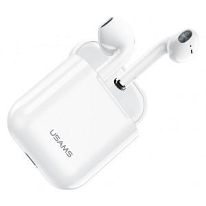 USAMS earphones US-ND001 με θήκη φόρτισης, True Wireless, λευκά BHUND01