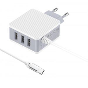 BOROFONE φορτιστής τοίχου Joyful BA42A με καλώδιο Type-C, 3x USB, λευκός BRF-BA42AC-WH