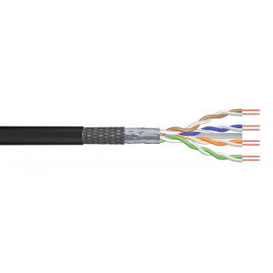 POWERTECH καλώδιο SF/UTP Cat 6e CAB-N157, CCA 24AWG 0.5mm, 305m, μαύρο CAB-N157