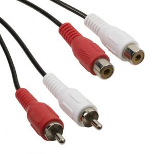 POWERTECH καλώδιο CAB-R018 2x RCA (M) σε 2x RCA (F), 5m, μαύρο CAB-R018