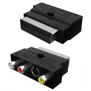 POWERTECH αντάπτορας SCART σε audio/video & S-Video CAB-S011, μαύρος CAB-S011