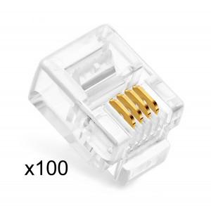 POWERTECH Plug Γραμμης Τηλεφωνου RJ11 6p4c, 100τεμ CAB-T024