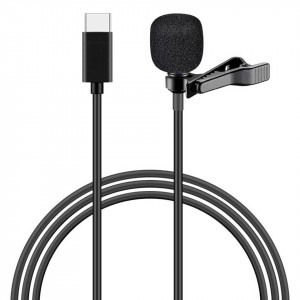 POWERTECH μικρόφωνο CAB-UC048 με ενσωματωμένο clip-on, USB Type-C, μαύρο CAB-UC048