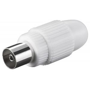 POWERTECH βύσμα κεραίας PAL CAB-V031, θηλυκό, 15.88mm, λευκό, 5τμχ CAB-V031