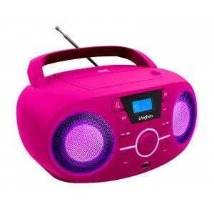 BIGBEN Φορητό ηχοσύστημα CD61NUSB, FM/CD/USB, LED, ροζ CD61RSUSB