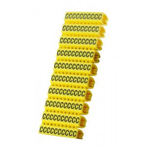 POWERTECH Clip αρίθμησης καλωδίου γράμμα C, Yellow, 10τεμ. CLIP-015