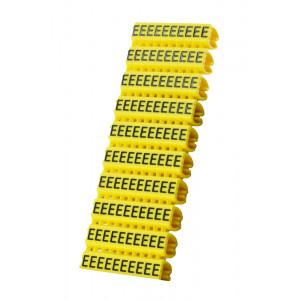 POWERTECH Clip αριθμησης καλωδιου γραμμα E, Yellow, 10τεμ. CLIP-017