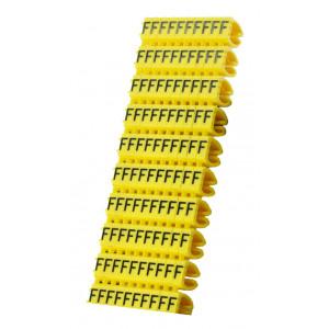 POWERTECH Clip αριθμησης καλωδιου γραμμα F, Yellow, 10τεμ. CLIP-018