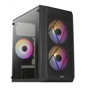 AEROCOOL PC mini tower CS-107-A, 197.5x353x340.6mm, 3x FRGB fan, μαύρο CS-107-A-BK-V2