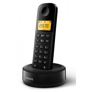PHILIPS ασύρματο τηλέφωνο D1601B/34, με ελληνικό μενού, μαύρο D1601B-34