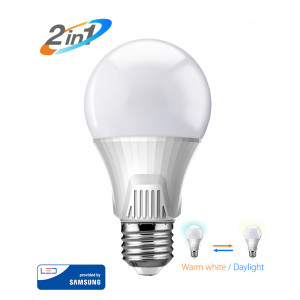 POWERTECH LED Λάμπα Bulb 2 σε 1, 9W, 3000K & 6500K, E27, Samsung LED, IC E27-003