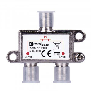 EMOS Splitter EU2242, 2-Way, 5-862mHz, 3.7dB EMS-EU2242