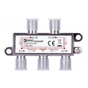 EMOS Splitter EU2244P, 4-Way splitter, 5-862mHz, 8.2dB EMS-EU2244P
