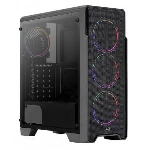 AEROCOOL PC case mid tower Ore FRGB-G-BK-V1, 195x461x422mm, 3x fan FRGB-G-BK-V1
