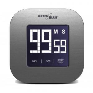 GREEN BLUE Ψηφιακό χρονόμετρο GB524, οθόνη αφής, μαγνητικό, βάση, ασημί GB524