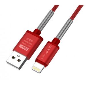 GOLF Καλώδιο Fast Charging Sync USB σε iPhone 8-pin, Braided, 1m, Red GC-40I-RD