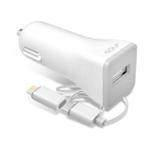 GOLF Φορτιστης Αυτοκινητου GF-C3, 2.1A, Micro USB & 8-pin, White GF-C3