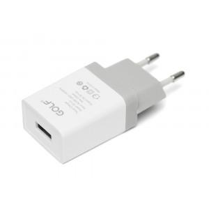 GOLF Φορτιστης GF-U1, 1x USB 1A, Λευκος GF-U1