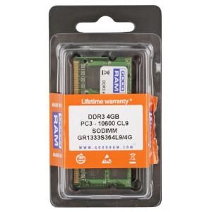 GOODRAM Μνήμη DDR3 SODIMM GR1333S364L9S-4G, 4GB, 1333MHz, PC3-10600, CL9 GR1333S364L9S-4G