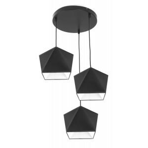 POWERTECH τρίφωτο φωτιστικό οροφής HLL-0013, E27, μεταλλικό, λευκό-μαύρο HLL-0013