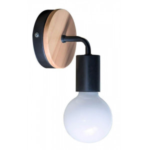 POWERTECH φωτιστικό τοίχου HLL-0017, E27, ξύλο-μέταλλο, μαύρο HLL-0017