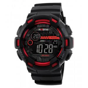 INTIME Ρολόι χειρός Chrono-01, Double time, EL φωτισμός, κόκκινο IT-003