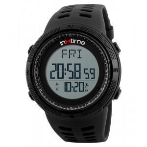 INTIME Ρολόι χειρός Step-01, Pedometer, Θερμίδες, El φωτισμός, μαύρο IT-005