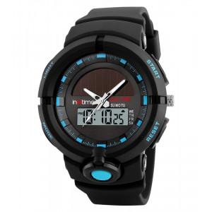 INTIME Ρολόι χειρός Solar-01, Ηλιακό, διπλή ώρα, El φωτισμός, μπλε IT-006