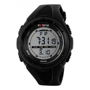 INTIME Ρολόι χειρός Chrono-03, Double time, EL φωτισμός, μαύρο IT-008