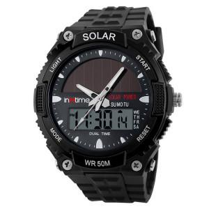 INTIME Ρολόι χειρός Solar-02, Ηλιακό, διπλή ώρα, El φωτισμός, μαύρο IT-009