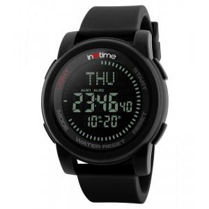 INTIME Ρολόι χειρός Comp-01, Πυξίδα, World time, El φωτισμός, μαύρο IT-011