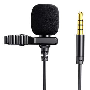 JOYROOM καλώδιο 3.5mm με ενσωματωμένο clip-on μικρόφωνο JR-LM1 2m, μαύρο JR-LM1-2M-BK