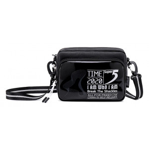 SUPER FIVE τσάντα ώμου K00111-BK, μαύρη K00111-BK