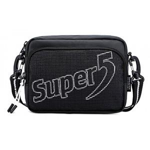 SUPER FIVE τσάντα ώμου K00123-BK, μαύρη K00123-BK