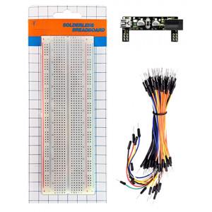 KEYESTUDIO Power+830-Hole Solderless breadboard KS0312, 65x Jumper Wires KS0312