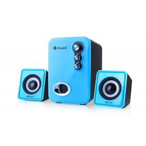 KISONLI Multimedia ηχεία U-2100, 2.1ch, 5W & 2x 3W, USB, μπλε KSN-U-2100-BL