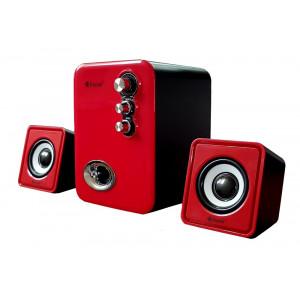 KISONLI Multimedia ηχεία U-2100, 2.1ch, 5W & 2x 3W, USB, κόκκινο KSN-U-2100-RD