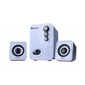 KISONLI Multimedia ηχεία U-2100, 2.1ch, 5W & 2x 3W, USB, λευκό KSN-U-2100-WH